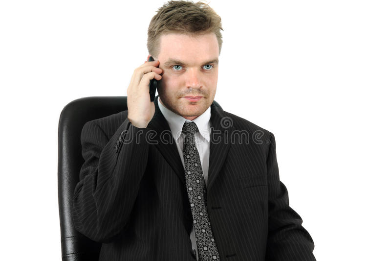 Man and cell phone. Isolated on the white background royalty free stock photos