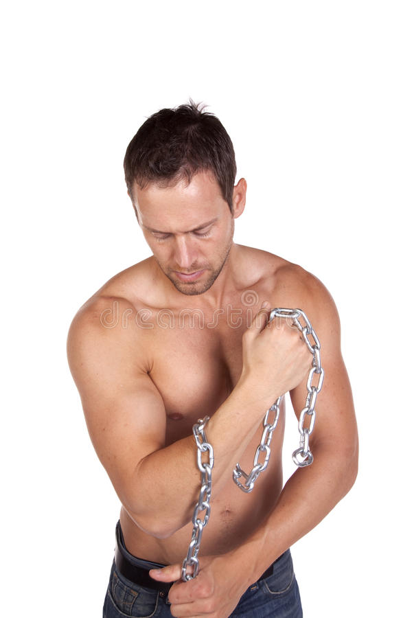 Man With Chain Around Arm Royalty Free Stock Photography