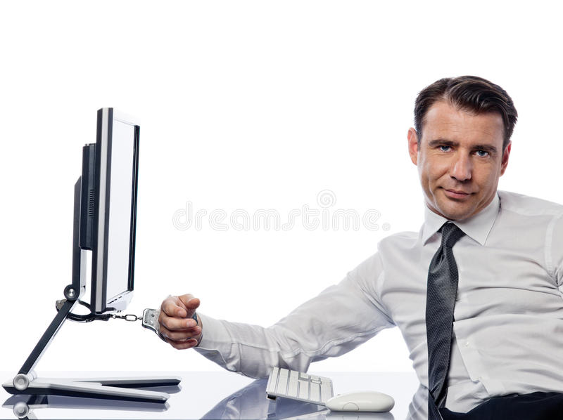 man chained to computer with handcuffs sad stock photo image of empty conceptual 29288066. Black Bedroom Furniture Sets. Home Design Ideas