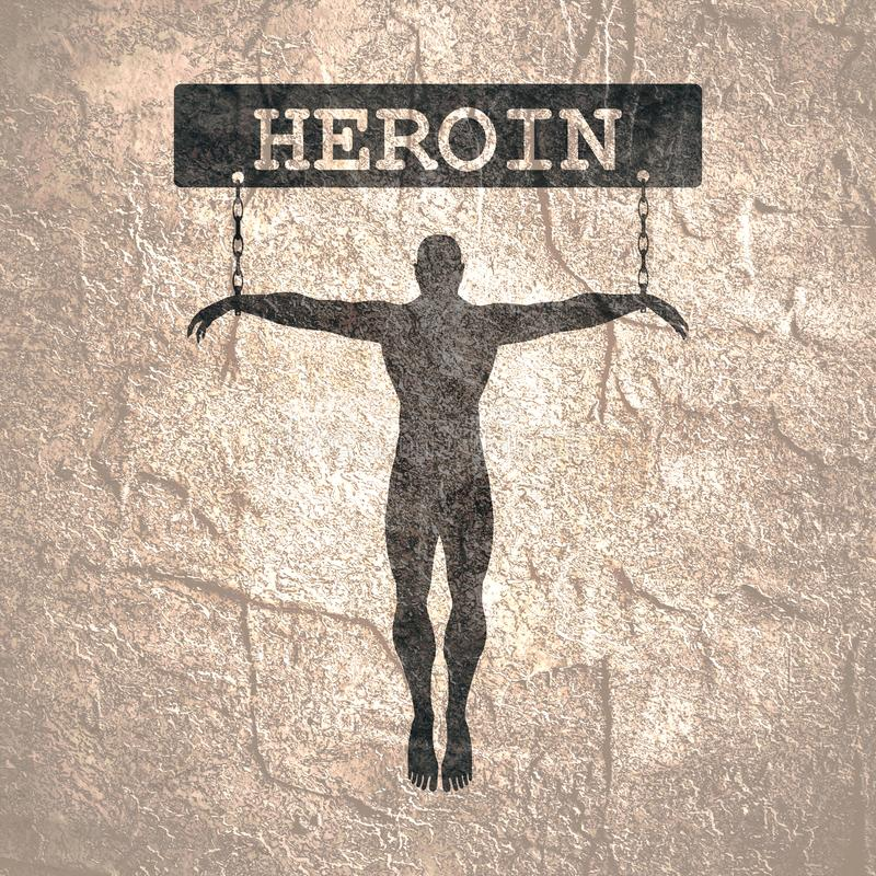 Addiction metaphor illustration. Man chained to heroin word. Unhealthy addiction metaphor royalty free stock image