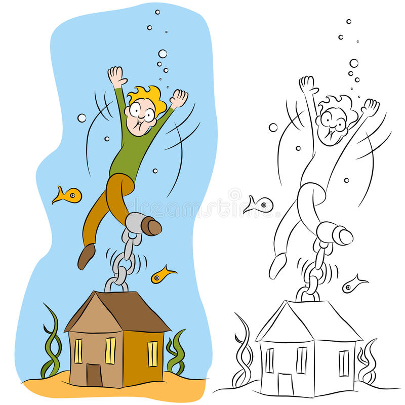 Download Man Chained To His House Underwater Stock Photos - Image: 20112593