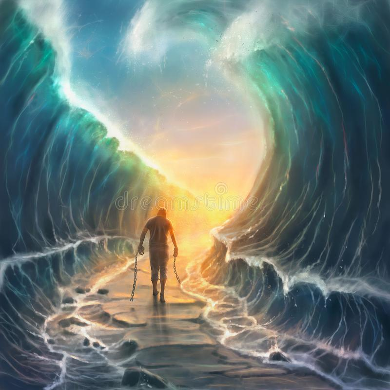Man with chains and parted sea. A man with broken chains walks through a parted sea royalty free illustration