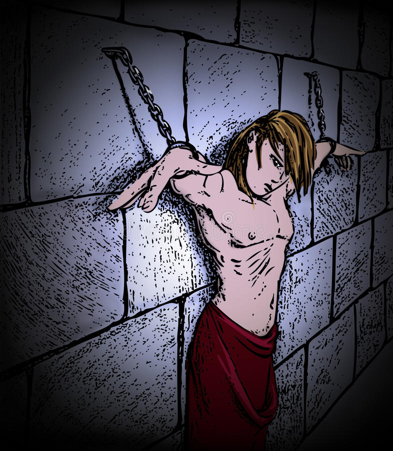 Man bound in chains. Young man in bondage, hanging in chains, in stocks, in a brick or stone dungeon, naked with a red robe royalty free illustration