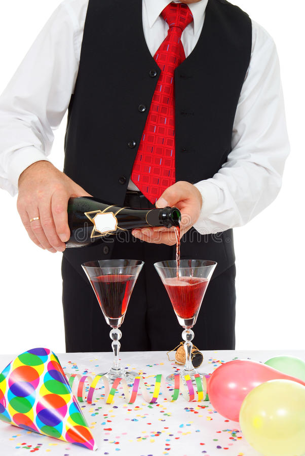 Man with champagne royalty free stock photography