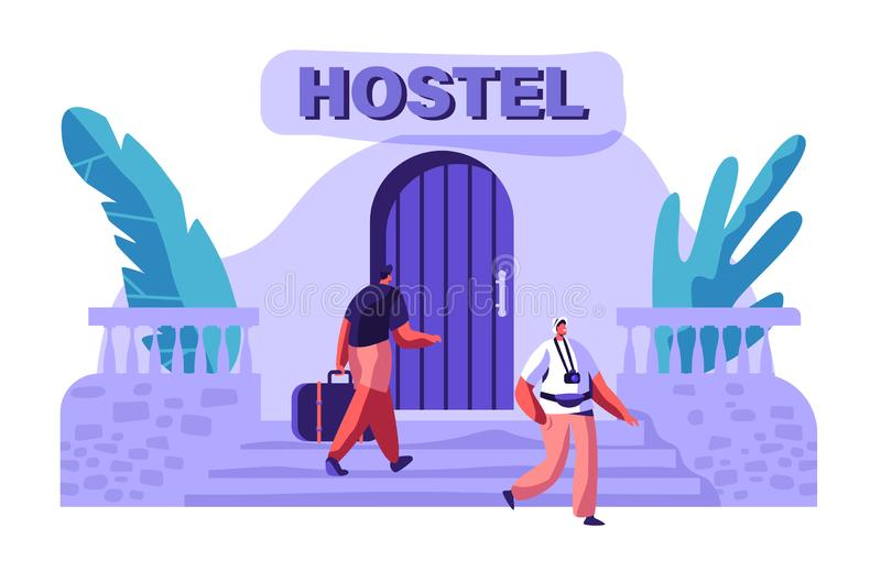 Man Character Arrive at Hostel Building with Bag. International Travel Concept. Tourist with Camera Walking Outside. Booking Hotel. Man Character Arrive at royalty free illustration