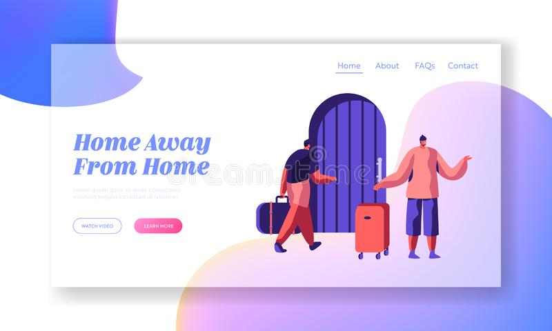 Man Character Arrive at Hostel Building with Bag Landing Page. International Budget Trip Concept Website or Web Page Booking Hotel. Man Character Arrive at royalty free illustration