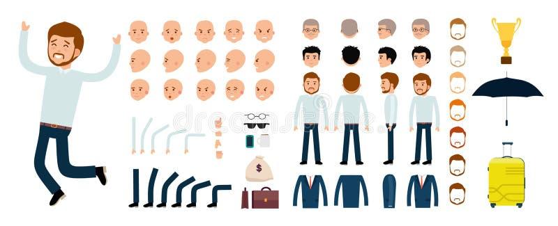 Man character creation set. The clerk, the businessman, boss. stock illustration