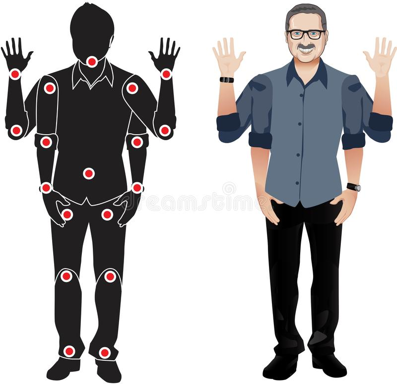 FOR ANIMATION. man character in green shirt, doll with separate joints. Gestures for animated work movement. Parts of body templat royalty free illustration
