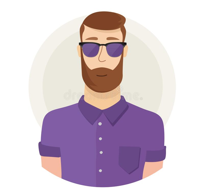 Man character hipster face avatar in glasses. Modern flat style. Male portrait. Vector cartoon illustration. vector illustration