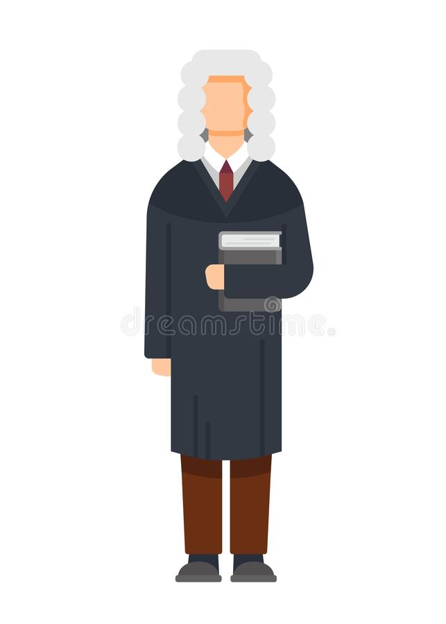 Man character is judge, civil, criminal cases, public court, sentencing. royalty free illustration