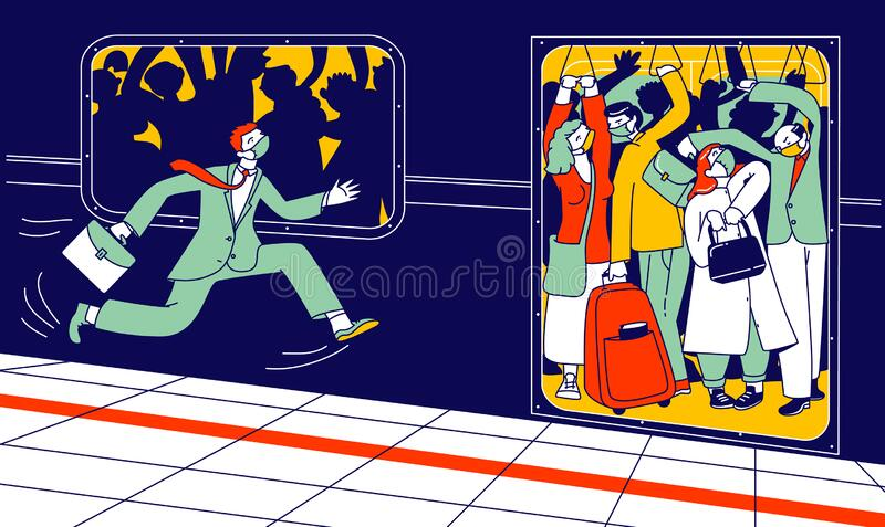 Man Character in Medical Mask Run in Subway Platform to Crowded Train in Rushtime. People Pushing Each Other in Full Metro at Station in Rush Hour. Covid19 vector illustration