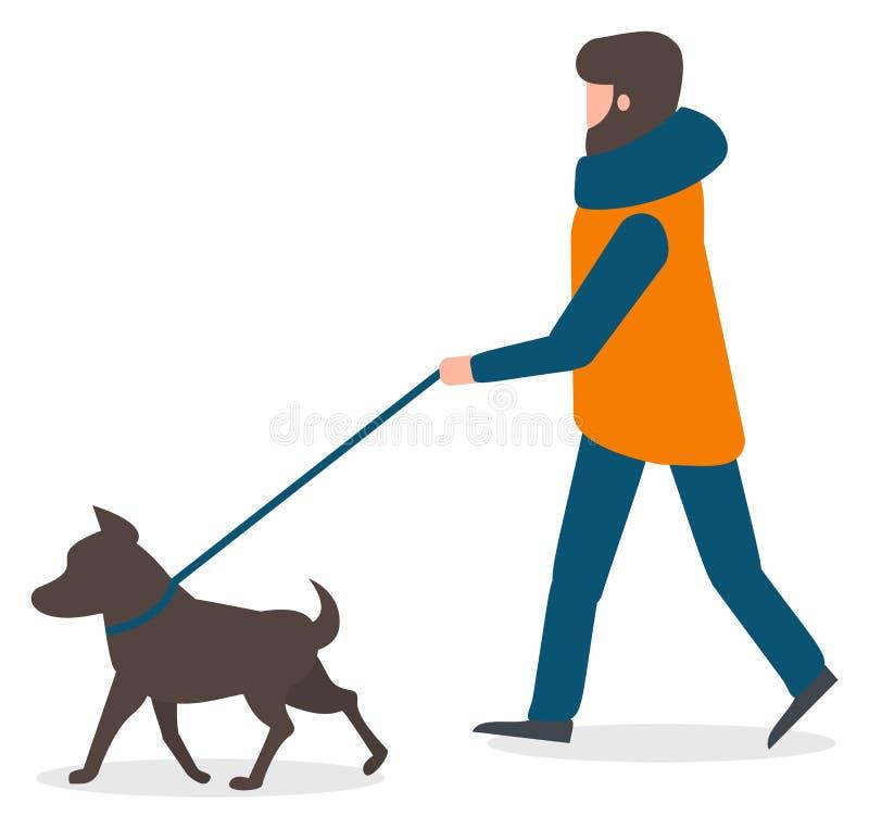 Man Character Walking Dog em Leash, vetor de inverno ilustração royalty free