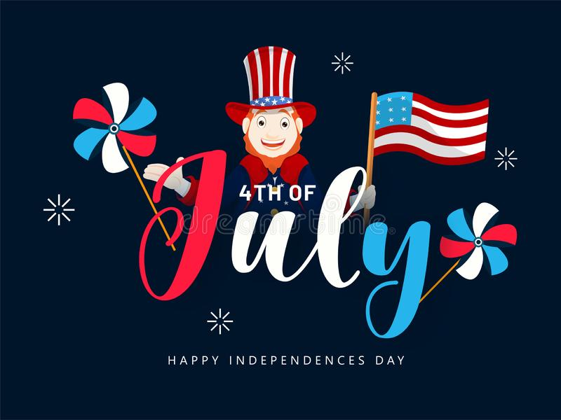 Man character wearing uncle sam hat with American Flag and pinwheels for 4th Of July, Independence Day. vector illustration
