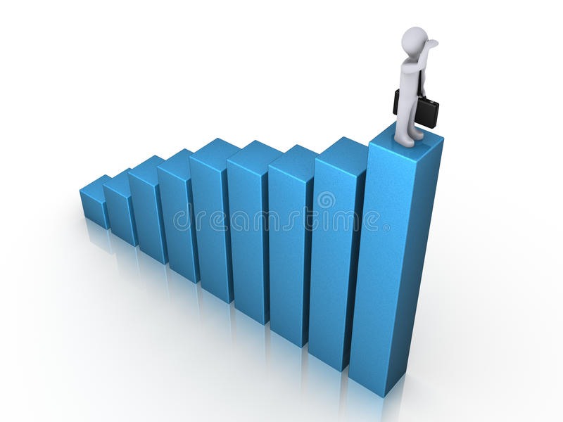 Man On Chart Gazing Stock Photography