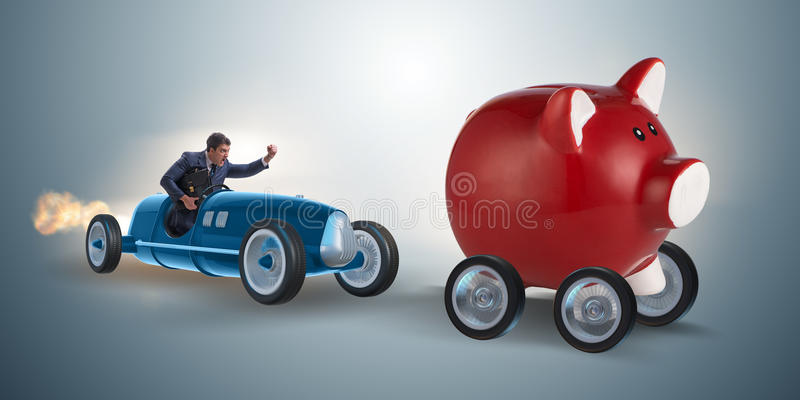 The man chasing piggybank in business concept. Man chasing piggybank in business concept royalty free stock image