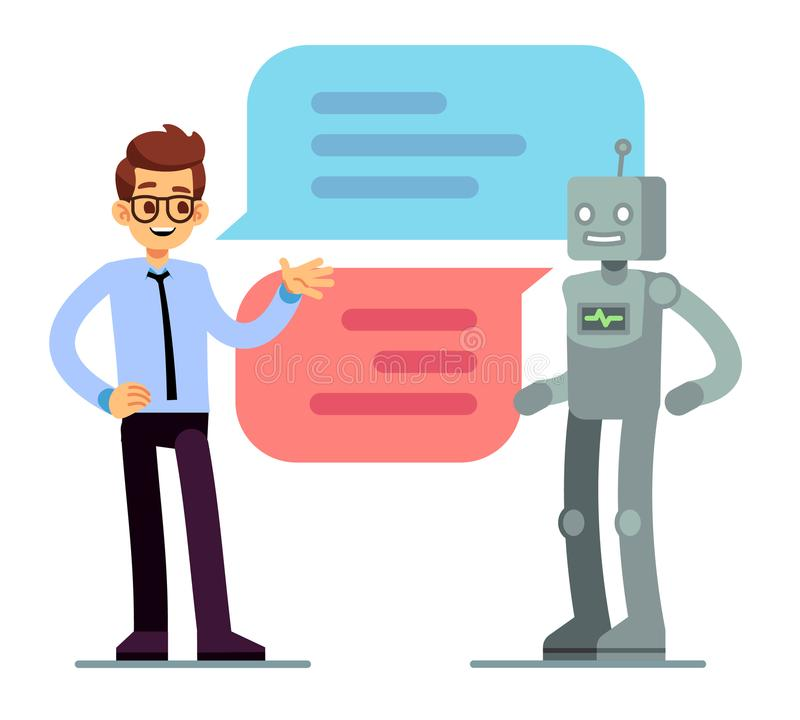 Man chatting and asking for help bot. Chatbot vector concept stock illustration
