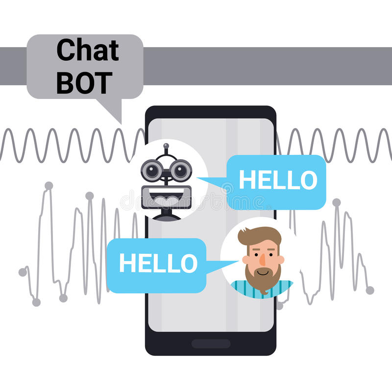 Man Chatting With Chat Bot On Cell Smart Phone, Robot Virtual Assistance Element Of Website Or Mobile Applications. Vector Illustration royalty free illustration