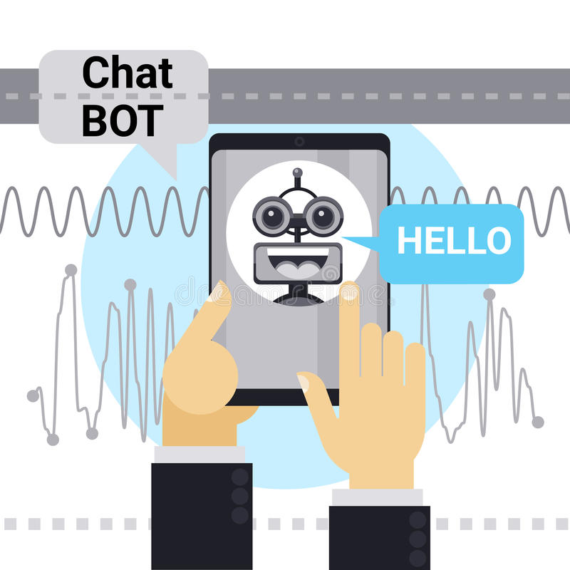 Man Chatting With Chat Bot On Cell Smart Phone, Robot Virtual Assistance Element Of Website Or Mobile Applications. Vector Illustration stock illustration