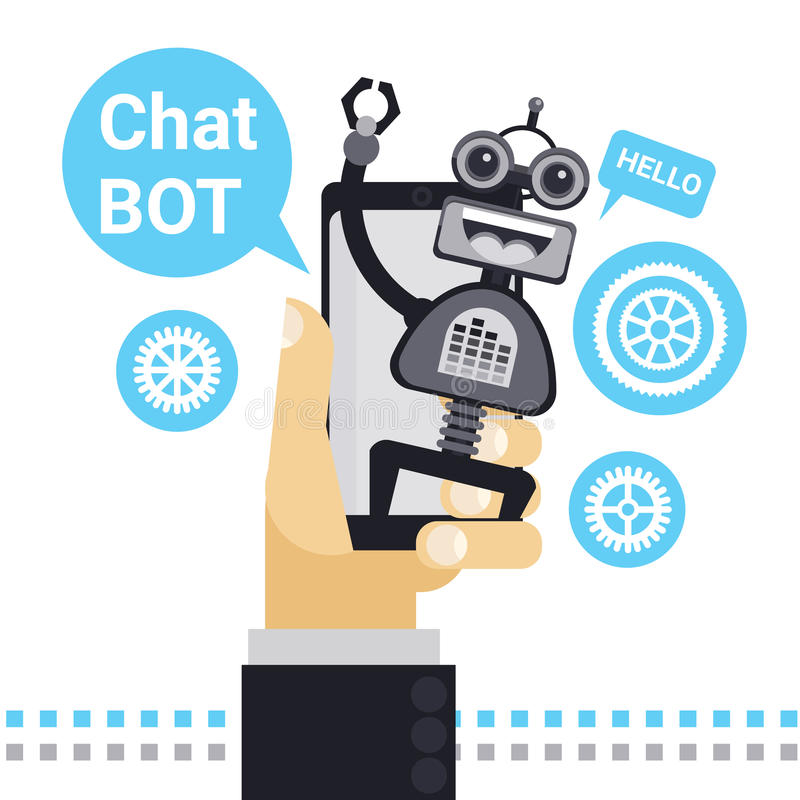 Man Chatting With Chat Bot On Cell Smart Phone, Robot Virtual Assistance Element Of Website Or Mobile Applications. Vector Illustration vector illustration