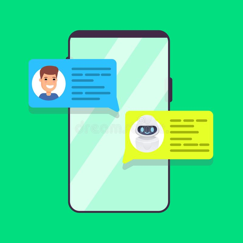 Man chatting with chat bot on smartphone. Vector illustration stock illustration