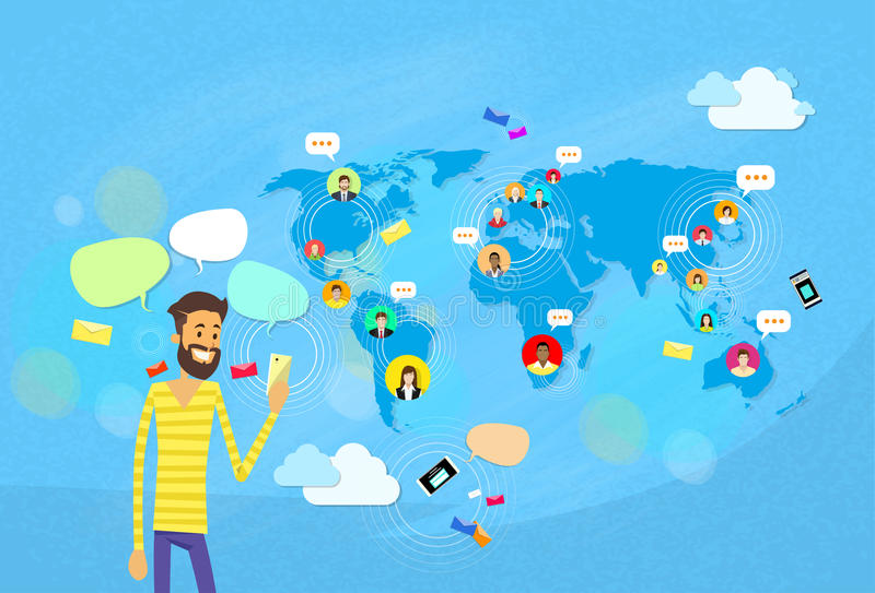Man Chatting Texting, Social Network Communication Concept World Map. Coworking Flat Vector Illustration royalty free illustration