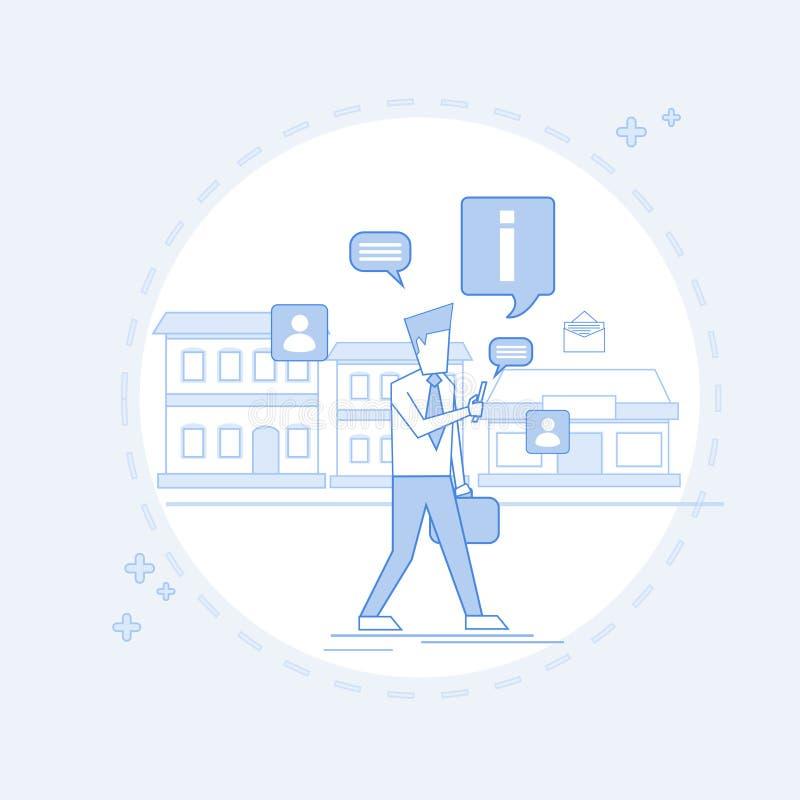 Man Chatting Walking Street Texting, Social Network Communication Thin Line stock illustration