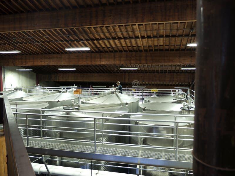 Large Metal Tanks In Wine Cellar Stock Photos