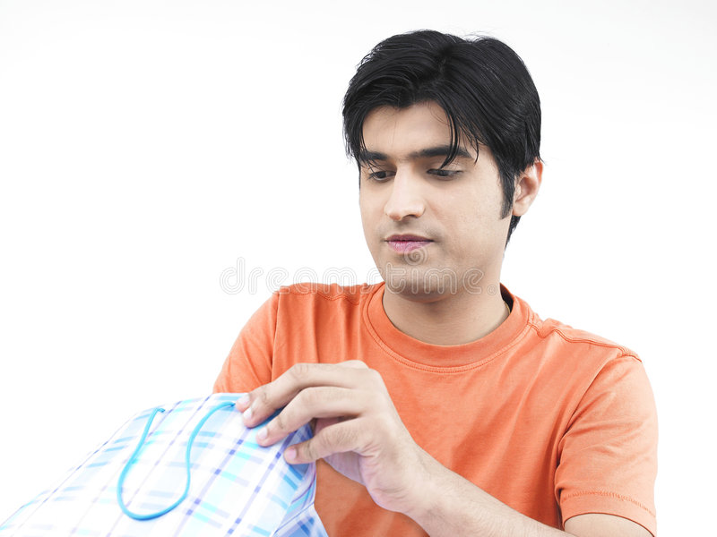 Download Man checking out his bag stock image. Image of black, fingers - 7320139