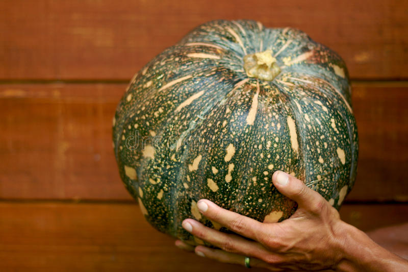 Man chef holding pumpkin