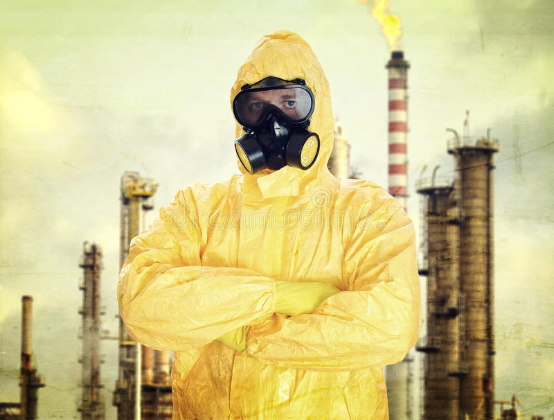 Man in chemical protective suit royalty free stock photos