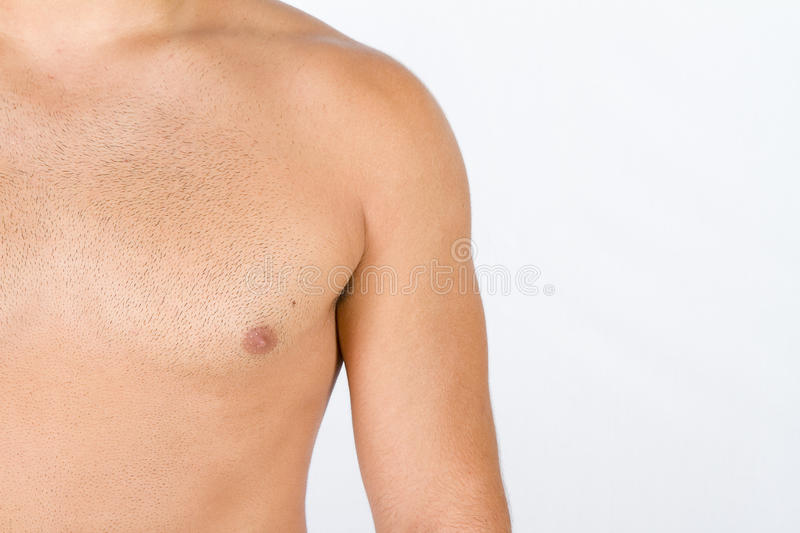 Man chest. Young man chest isolated on white stock photography