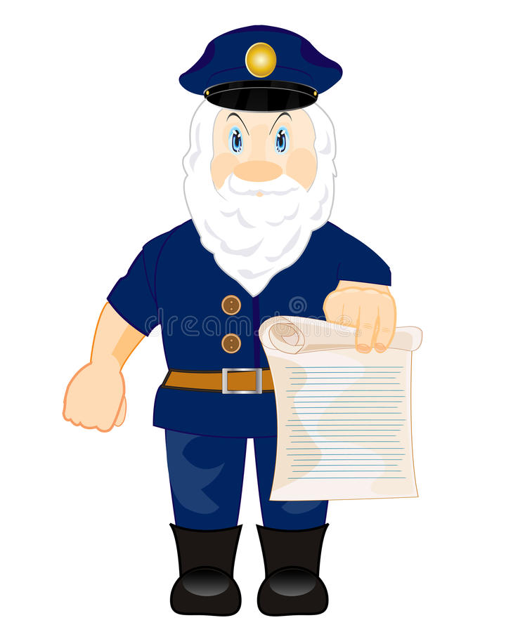 Man chief shows edict. Man squire shows order written on paper vector illustration