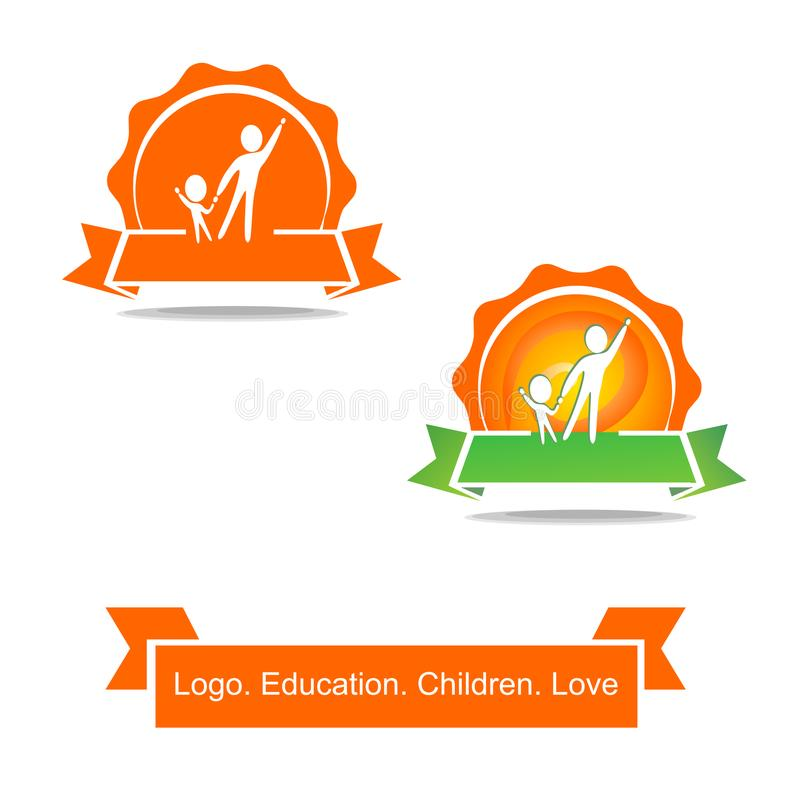A man with a child in the background of the sun. Icon with ribbon. A simple logo about education and childhood. stock illustration