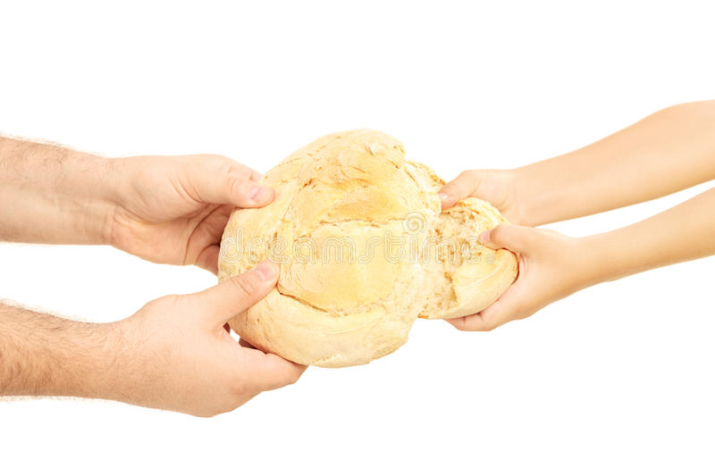 Man and child breaking apart a bread loaf royalty free stock images