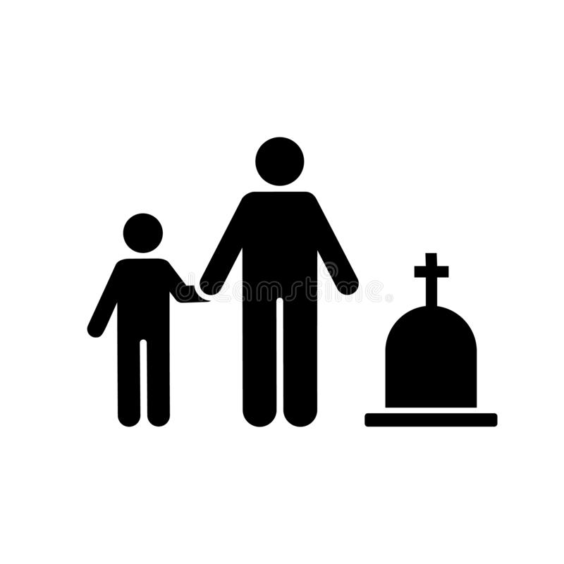 Man child funeral sorrow icon. Element of pictogram death illustration.  vector illustration