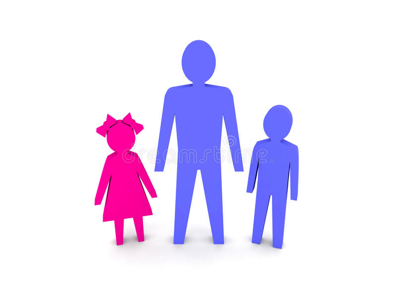 Man with children. Single-parent family. Concept 3D illustration royalty free illustration
