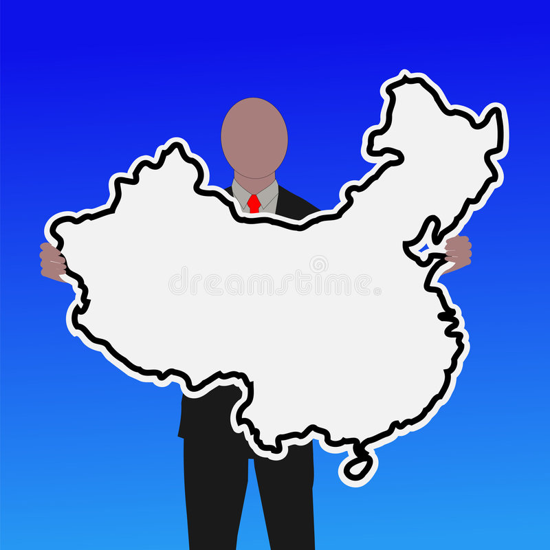 Man With China Sign Royalty Free Stock Photo