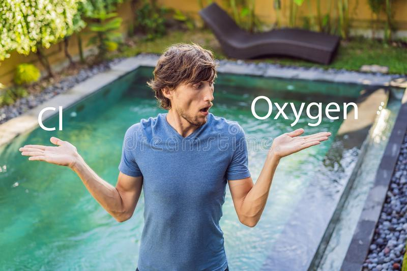 Man chooses chemicals for the pool chlorine or oxygen. Swimming pool service and equipment with chemical cleaning. Products and tools royalty free stock image