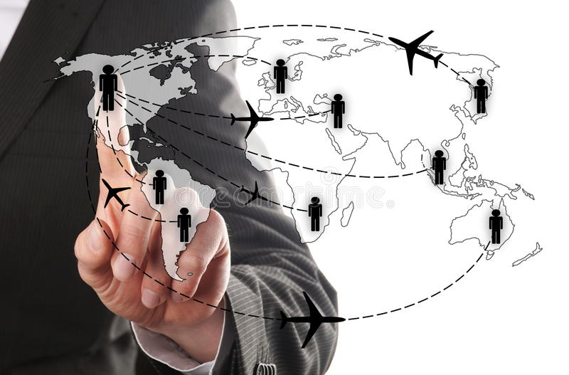 Man chooses his airline. Businessman chooses for his airline to fly to his contact royalty free stock photo