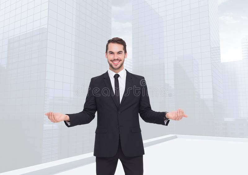 Man choosing or deciding with open palm hands stock photography