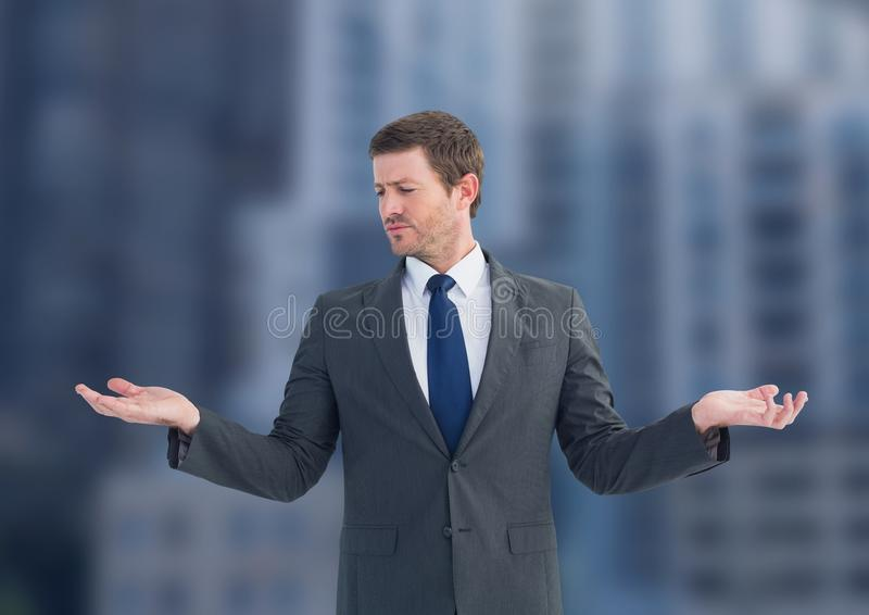 Man choosing or deciding with open palm hands stock images