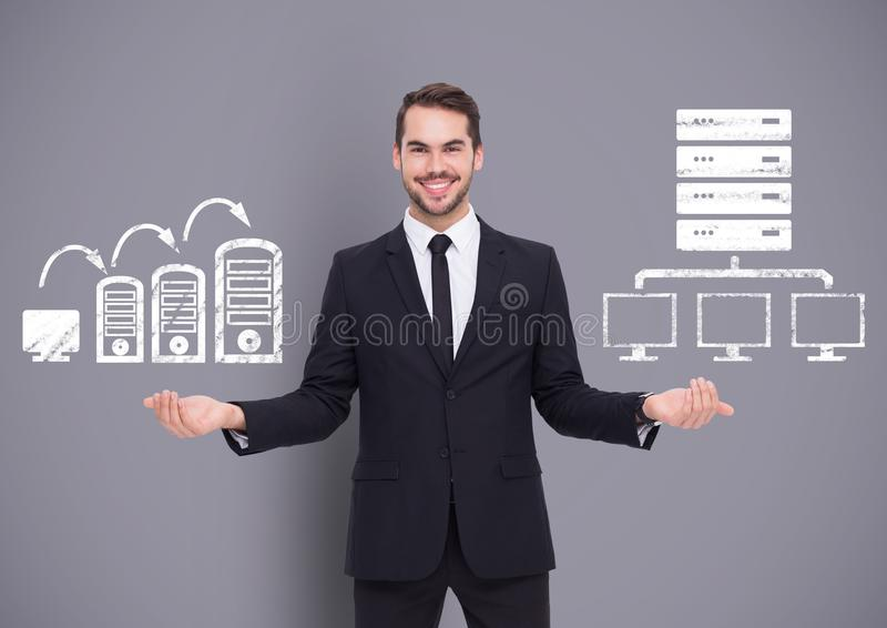 Man choosing or deciding with open palms hands computers servers icons stock image