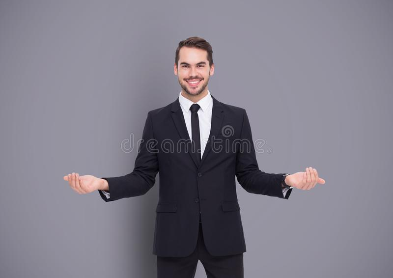 Man choosing or deciding with open palms hands royalty free stock image