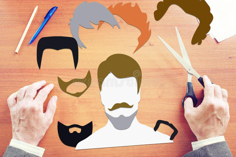 Man choosing style of haircut and beard. Concept with paper scrapbooking royalty free stock photography