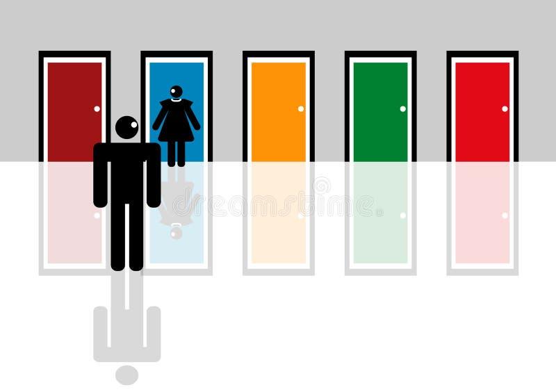 Download Man choosing woman stock illustration. Illustration of doors - 6217603