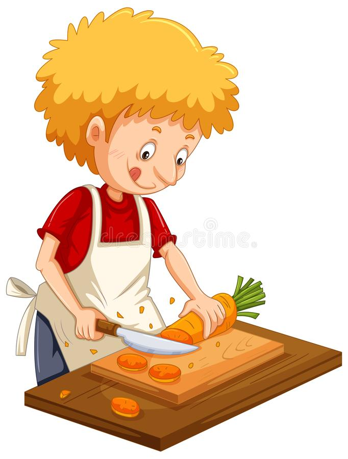 Man chopping carrot on cutting board royalty free illustration