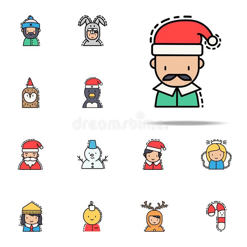 Man christmas colored icon. Christmas avatars icons universal set for web and mobile royalty free illustration