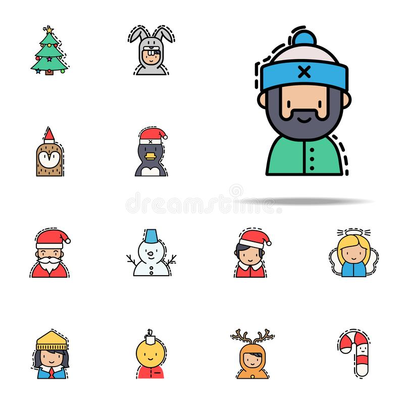 Man christmas colored icon. Christmas avatars icons universal set for web and mobile stock illustration