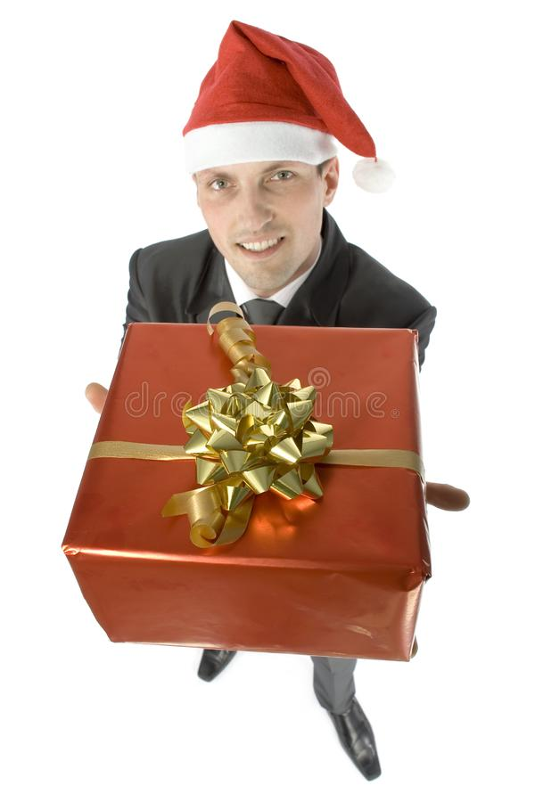 Man with christmas gift royalty free stock image