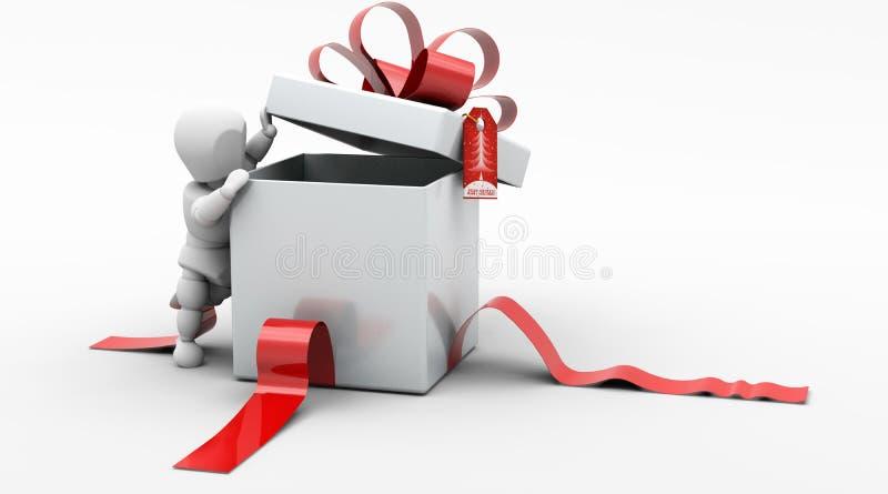 Man in Christmas Gift Box stock illustration